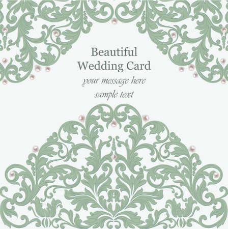 baroque pearl: Wedding Invitation card pearls delicate lace Illustration
