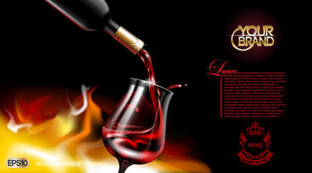 Vector Realistic Pouring Red Wine Glass. Logo advertise mock up. Vibrant background with place for your branding. 3d illustration future design of product