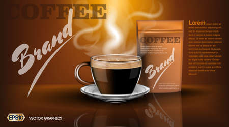 Realistic hot coffee cup and package Mockup template for branding, advertise product designs. Fresh steaming drink in a mug with shadows reflections