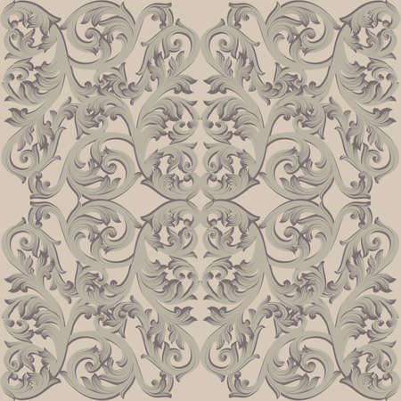 Vintage Baroque damask floral pattern acanthus Imperial style. Vector decor background. Luxury Classic ornament. Royal Victorian texture for wallpapers, textile, fabric. Taupe nude color