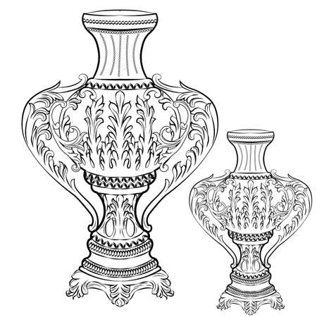 Exquisite Fabulous Imperial Baroque vase decor. Vector French Luxury rich intricate ornamented base. Victorian Royal Style decor