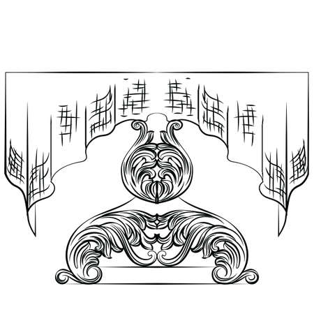 refinement: Rich Baroque Table. French Luxury rich carved ornaments with tablecloth decorated furniture. Vector Victorian Royal Style