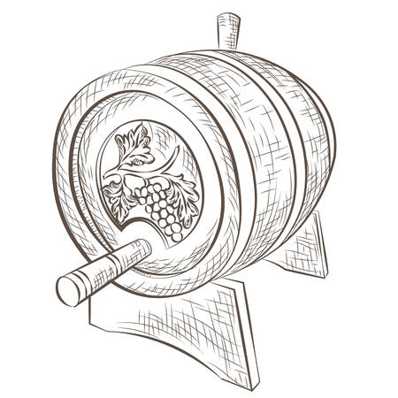 nostalgy: Wine barrel Vector isolated on white. Hand drawn ink engraving technique