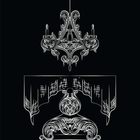 Rich Baroque Table and chandelier set. French Luxury rich carved ornaments decorated furniture. Vector Victorian Royal Style Illustration
