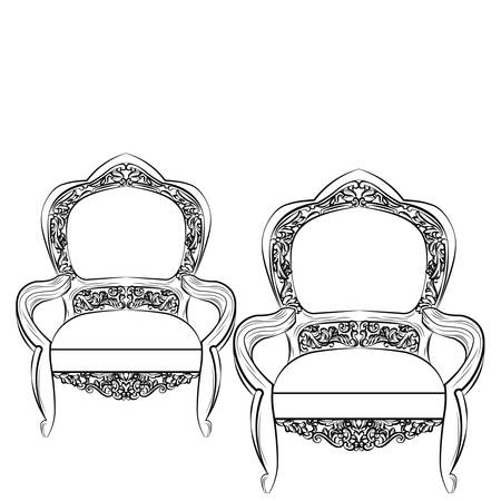 Exquisite Fabulous Imperial Baroque chair. Vector French Luxury rich intricate ornamented structure. Victorian Royal Style decor