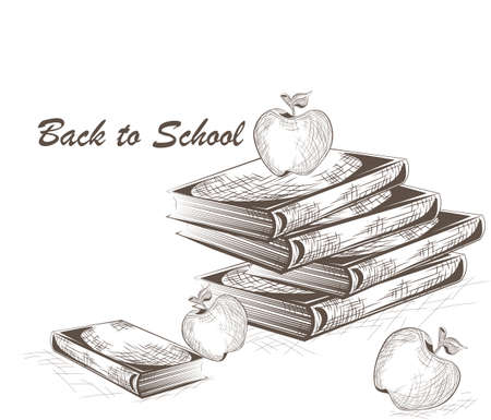 lithography: Back to school. Apple and Books engraving style. Engrave hatch lithography drawing collection