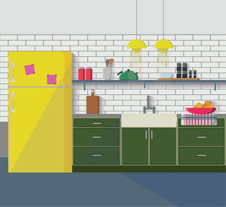 Kitchen with furniture. Cozy kitchen interior with table, sink, cupboard, dishes and fridge. Flat style vector illustration