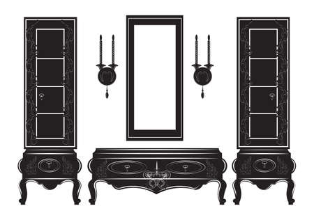 Vintage Sideboard cabinet Showcase silhouette. Vector illustration isolated on white background. Vintage Gothic style furniture. Hermitage decorated collection