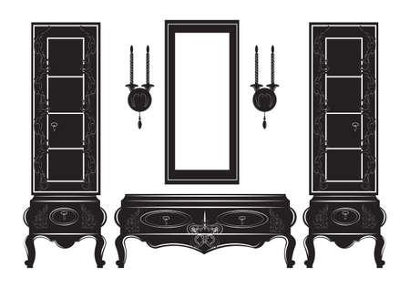Silhouette de vitrine armoire Vintage buffet. Illustration vectorielle isolée sur fond blanc Mobilier de style gothique vintage. Collection Hermitage décorée Vecteurs