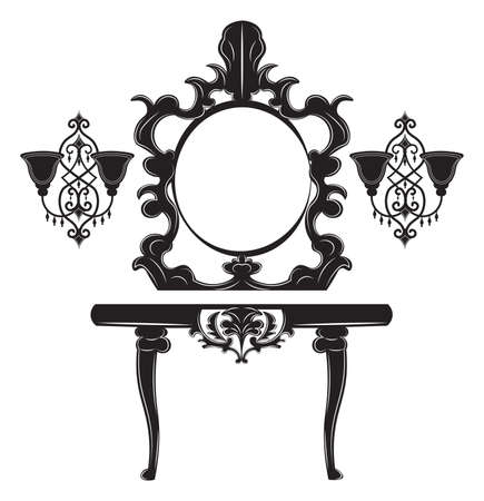 Vintage Baroque Imperial Dressing Table and Mirror set. French Luxury rich carved ornaments decor. Vector Victorian exquisite Style furniture and wall lamps