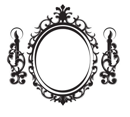 Vintage Frame with lamps. Baroque Mirror. Vector rich ornamented decor. French Luxury carved details. Vector Victorian wealthy Style structure Illustration