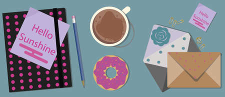 agenda: Coffee and donuts with agenda on a table. Illustration