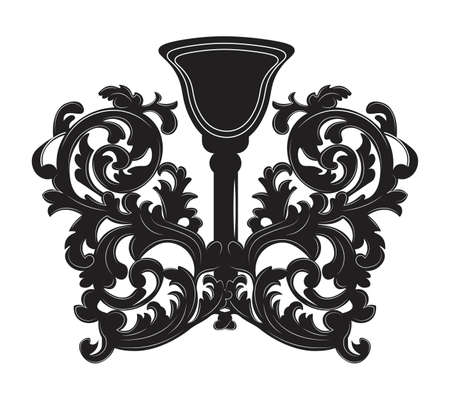 Baroque style wall lamp on white background. Luxury decor accessory design. Vector illustration sketch