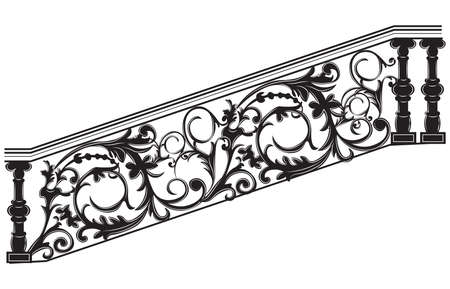 Stair railing Vector. Wrought iron stairs railing Illustration