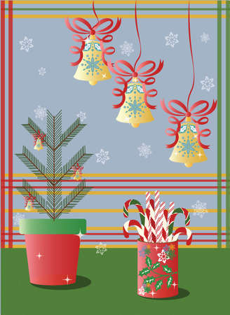 Christmas holidays decorations with bells and snowflakes Vector