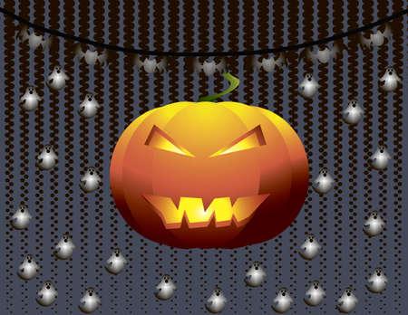 agressive: Pumpkin on lightened ghosts silhouette background. Halloween spooky card. Vector