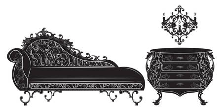 baroque furniture: Rich Baroque French luxury furniture set collection.