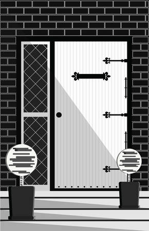 Vintage Door entrance facade. Old wooden with iron hinges. Vector detailed isolated illustration