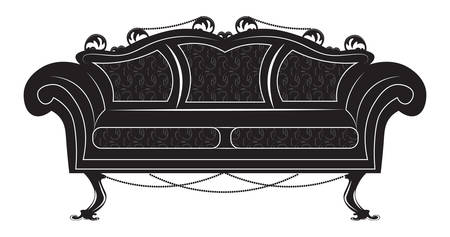 Vintage Gothic style sofa furniture. Vector hermitage decor collection Illustration