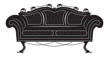 Vintage Gothic style sofa furniture. Vector hermitage decor collection Vectores