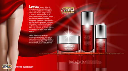 Skin care beauty Body Cream and Lotion. Moisturizing cosmetic ads template. Mockup 3D Realistic Woman silhouette illustration. Red flame colors