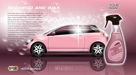 High quality Car Shampoo and Wax Spray packadge mock up ads. Bottle of carwash soap. 3d Vector realistic vehicle template. Pink colors