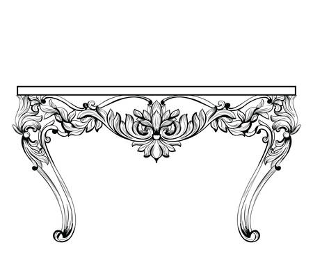 chest wall: Imperial Baroque chest table. Vector French Luxury rich intricate ornamented structure. Victorian Royal Style decor
