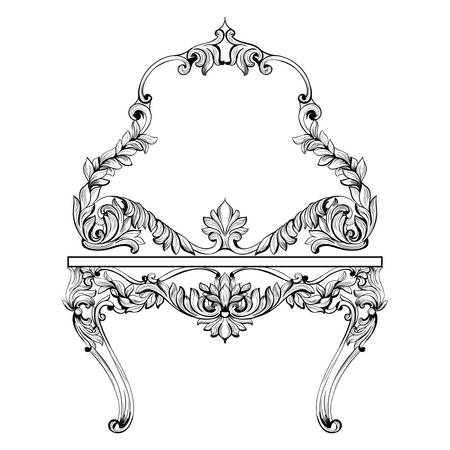 Fabulous Baroque Console Table and Mirror frame set. Vector French Luxury rich carved ornaments. Victorian wealthy Style decorated furniture