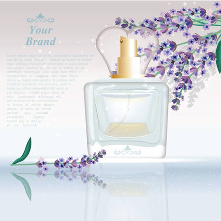 glamorous: Lavender Perfume bottle Cosmetic ads template, droplet mock up isolated on dazzling background. Place for brand text. Glamorous fragrance sparkling effects. Vector illustration