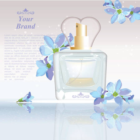 glamorous: Blue flowers Perfume bottle Cosmetic ads template, droplet mock up isolated on dazzling background. Place for brand text. Glamorous fragrance sparkling effects. Vector illustration Illustration