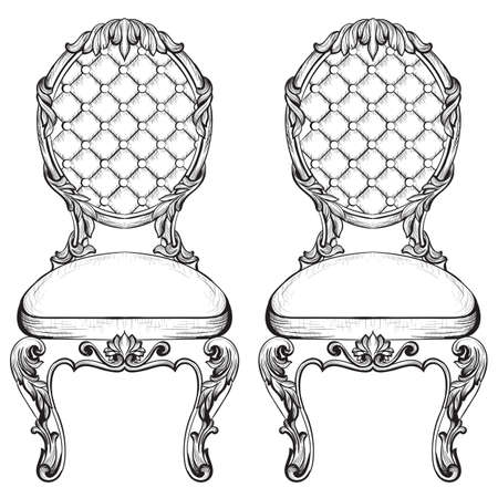 baroque room: Exquisite Fabulous Imperial Baroque chairs in luxurious fabric ornament. Vector French Luxury rich intricate structure. Victorian Royal Style decor