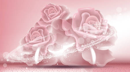 glamorous: Rose flowers sparkling background. Ads template, droplet mock up isolated on dazzling roses backdrop. Place for brand text. Glamorous fragrance effects. Vector illustration