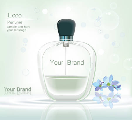 glamorous: Perfume bottle Cosmetic ads template, droplet bottle mock up isolated on dazzling blue background. Place for brand text. Glamorous fragrance sparkling effects. Vector illustration