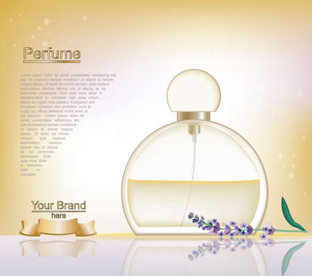 fragrance: Lavender Perfume bottle Cosmetic ads template, droplet bottle mock up isolated on dazzling blue background. Place for brand text. Glamorous fragrance sparkling effects. Vector illustration Stock Photo