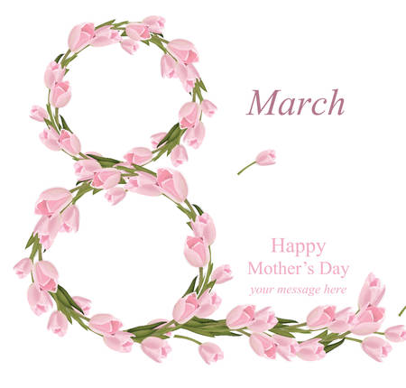 8. März Frauen Tag Grußkarte . Aquarell realistische Tulpen Vektor-Illustration Vektorgrafik