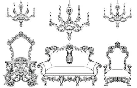 sumptuous: Exquisite Fabulous Imperial Baroque furniture and chandelier set engraved. Vector French Luxury rich intricate ornamented structure. Victorian Royal Style decor Illustration