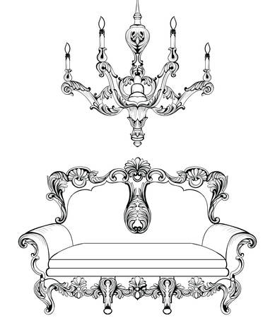 sumptuous: Exquisite Fabulous Imperial Baroque sofa and chandelier engraved. Vector French Luxury rich intricate ornamented structure. Victorian Royal Style decor Illustration