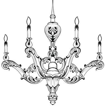 scone: Vintage Baroque Elegant chandelier. Vector Luxury Royal Rich Style decor. Classic lamp illustration sketch