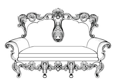 Exquisite Fabulous Imperial Baroque couch engraved. Vector French Luxury rich intricate ornamented structure. Victorian Royal Style decor