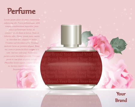 fragrance: Perfume cosmetics and perfume ads template. Silver bottle sparkling background. Realistic pink roses decor. 3d Vector illustration