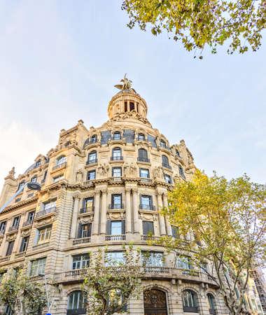 Architecture of the City center - Plaza Catalonia Placa de Catalunya on November 11, 2016 Barcelona, SPAIN