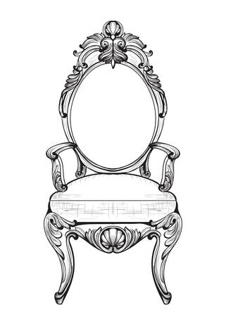 Exquisite Fabulous Imperial Baroque chairs in luxurious fabric ornament. Vector French Luxury rich intricate structure. Victorian Royal Style decoration