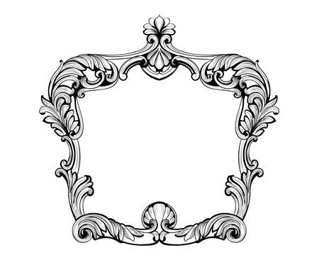 Imperial Baroque Mirror frame. Vector French Luxury rich intricate ornaments and crystals. Victorian Royal Style decoration Векторная Иллюстрация