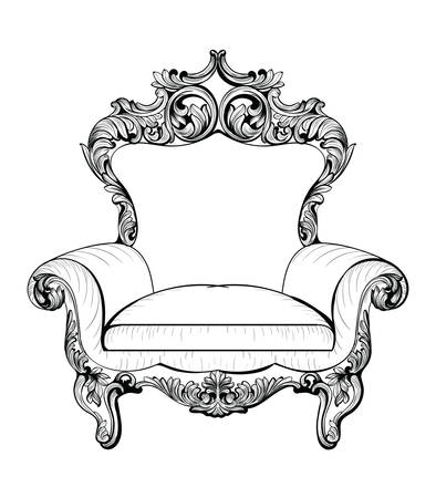 Exquisite Fabulous Imperial Baroque armchair engraved. Vector French Luxury rich intricate ornamented structure. Victorian Royal Style decoration Çizim