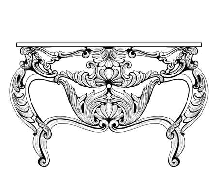 Exquisite Fabulous Imperial Baroque chest table with drawers. Vector French Luxury rich intricate ornamented structure. Victorian Royal Style decor
