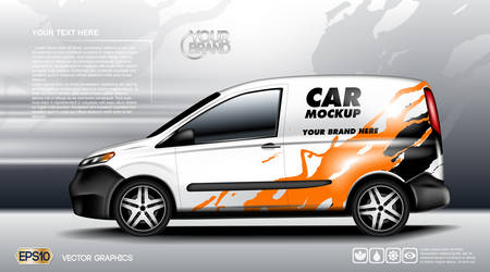 advertising design: Digital vector white realistic vehicle car mockup, ready for your logo and design . Template for advertising and corporate identity. Food delivery. Illustrated vector. Blank transportation. Mockup Illustration