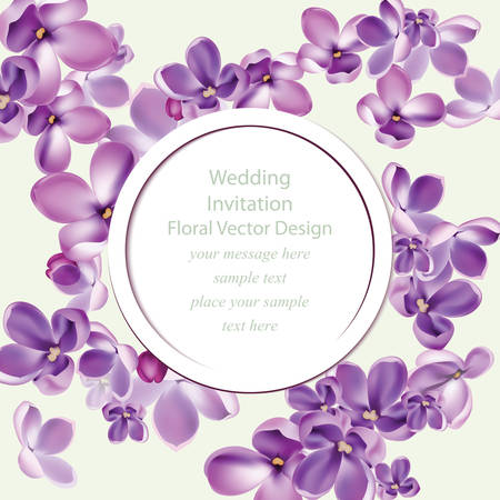 bush mesh: Spring delicate lilac flowers bouquet card background. Beautiful Postcard for Weddings, Birthday, Anniversary. Vector illustration