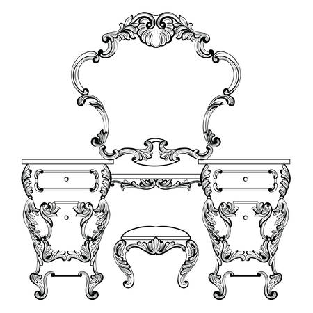 Fabulous Baroque Console Table and Mirror frame set. Vector French Luxury rich carved ornaments. Victorian wealthy Style furniture