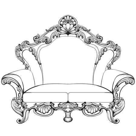 sumptuous: Fabulous Imperial Baroque armchair engraved. Vector French Luxury rich intricate ornamented structure. Victorian Royal Style decor Illustration