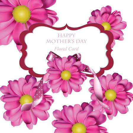 bush mesh: Spring pink flower card background. Beautiful Postcard for Weddings, Birthday, Anniversary. Vector illustration